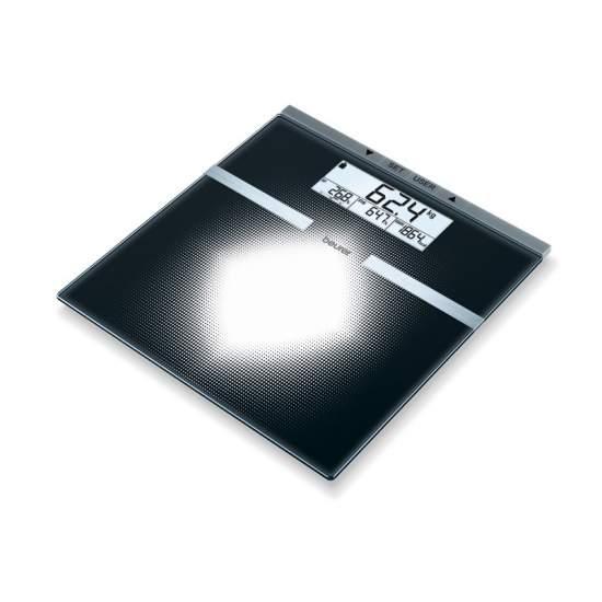 """Báscula diagnóstica de vidrio - Báscula diagnóstica de vidrio  Motivo impreso gráfico con """"visión de conjunto"""" Gran pantalla LCD Tamaño de las cifras (indicación de peso): 25 mm"""