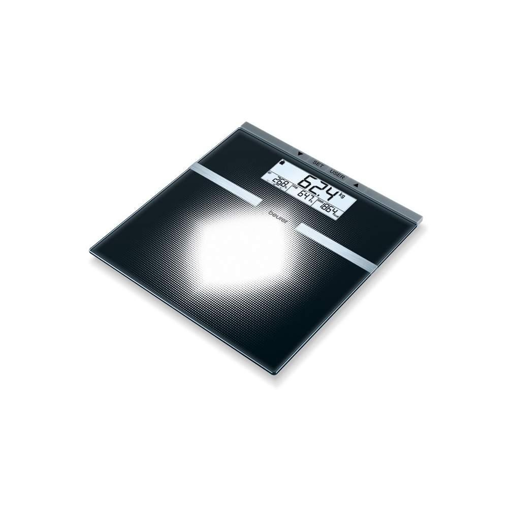"""Escala de diagnóstico de vidro -  Escala de diagnóstico de vidro  Motivo gráfico impresso com """"visão geral""""  Grande LCD  Tamanho dos dígitos (visor de peso): 25 mm"""