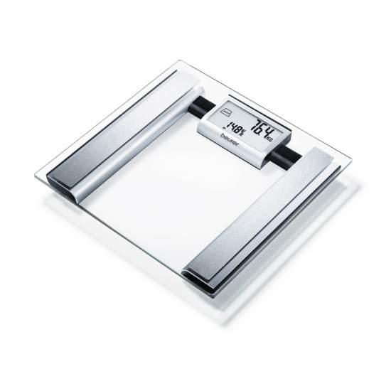 Verre balance impédancemètre Beurer -  Pèse-personne impédancemètre en verre  Grand écran LCD avec deux lignes  Pyramide d'interprétation  Surface d'appui Square, verre de sécurité (30 x 30 cm)