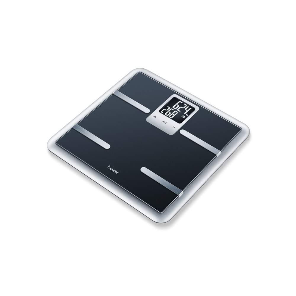 Báscula diagnóstica negra Beurer - Báscula diagnóstica de vidrio  Báscula de vidrio para diagnóstico con un elegante marco Pantalla negra cuadrada Pantalla LCD grande con dos líneas (9,5 x 4,5 cm)
