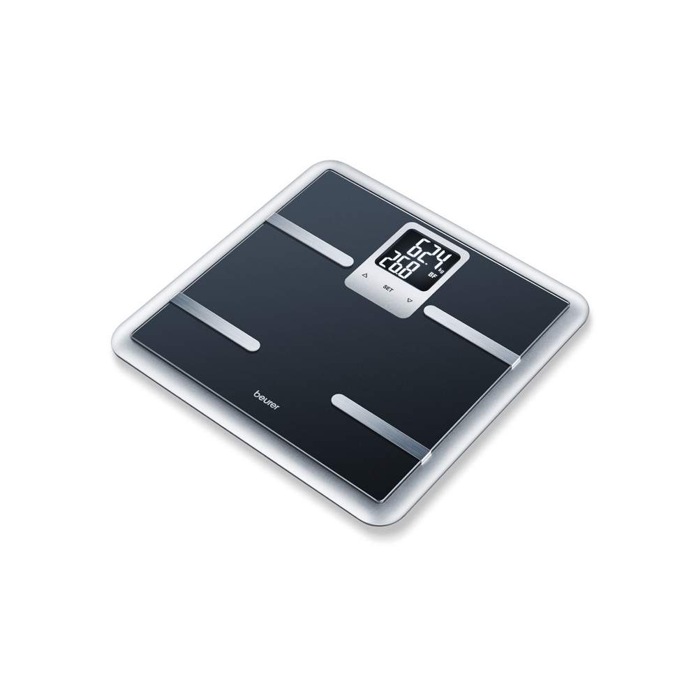 Black diagnostic scale Beurer -  Glass diagnostic scale  Glass scale with elegant diagnostic framework  Square black screen  Large LCD display with two lines (9.5 x 4.5 cm)