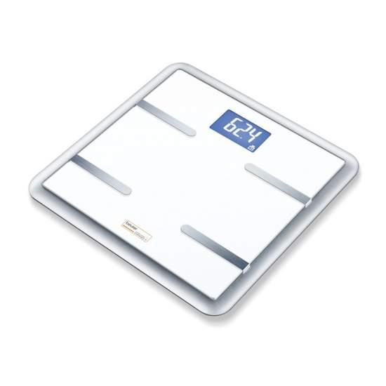 Báscula diagnóstica por Internet BG 900 - Báscula diagnóstica por Internet  Fácil acceso en cualquier momento y en cualquier lugar por App (iOX y Android) y a través de la página de beurer-wireless-connect Evaluación gráfica de los valores corporales 150 kg de capacidad