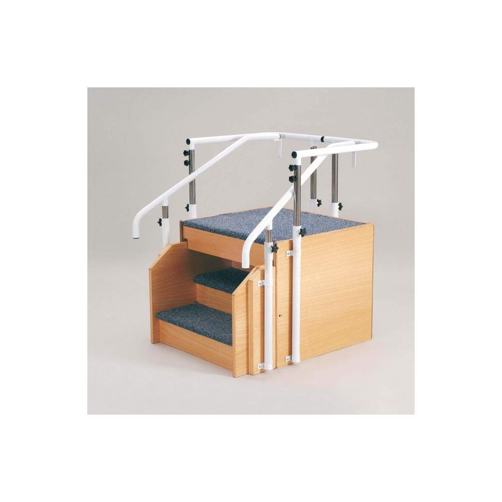 Ladder -  Designed in two collapsible ladder sections can be adjusted quickly into each other to save space.  Steps lined 15cm deep carpet of high resistance.  Regulating handrails...