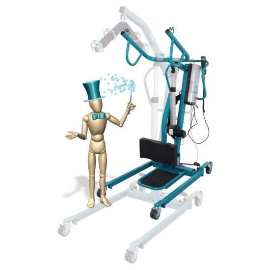Crane in piedi e trasferimento Duo - La gru in piedi o cambiare pannolini, il sollevamento e lo spostamento 'Duo', permette in solo 30 secondi, ruotare la gru elettronica convenzionale su una gru in piedi il cambio del pannolino.
