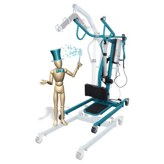 Crane standing and transfer Duo - The crane standing or changing diapers, lifting and moving 'Duo', allows in only 30 seconds, turn the conventional electronic crane on a crane standing diaper changes.