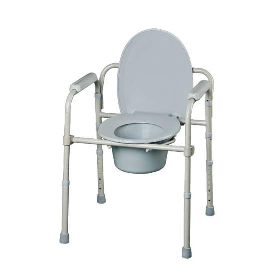 Service folding House - They can be used as toilet lift height adjustable, as chair toilet for bedroom (incorporates a bucket  handle) and as auxiliary support for the WC. The chairs are folded or disassembled quickly and without tools for easy transport or...