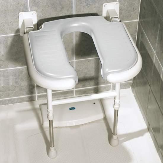 Asiento de ducha abatible forma de 'U' con patas - Asiento de ducha abatible forma de 'U' con patas