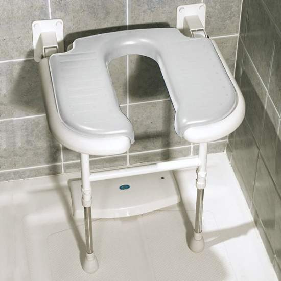 Folding shower seat form of 'U' with legs