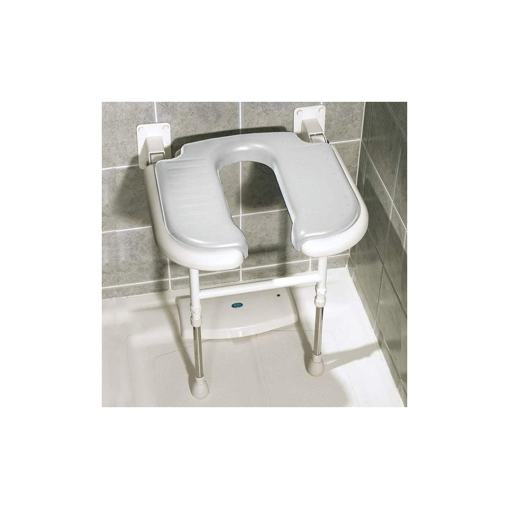 U-shaped folding shower seat with legs