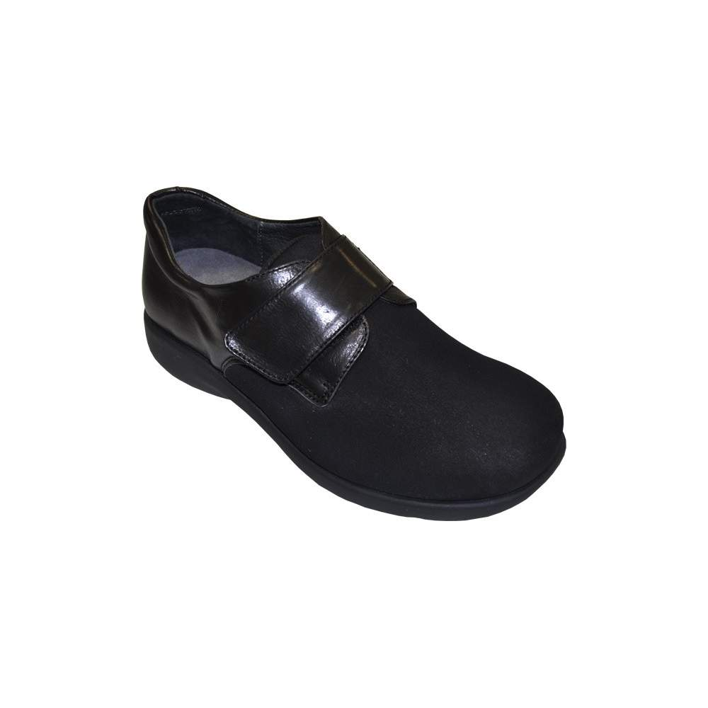 COMFORTABLE SHOE TEMPLATE Model 1301 - Leather shoe with Velcro closure (lady) made with uppers of Lycra ® / neoprene, polyurethane floor ...