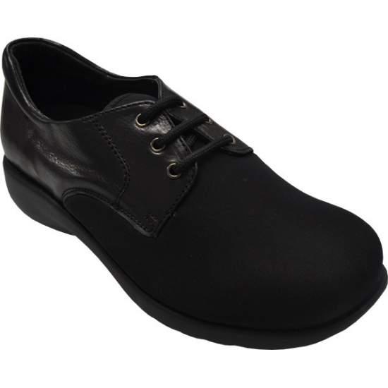 Chaussure confortable MODÈLE Modèle 1302 - Lady chaussure en cuir avec fermeture à lacets, faite avec dessus en Lycra ® / néoprène ...