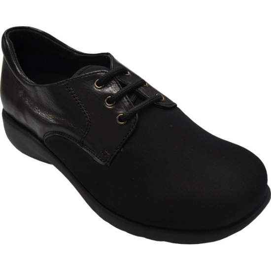 COMFORTABLE SHOE TEMPLATE Model 1302 - Lady leather shoe with lace closure, made with uppers of Lycra ® / neoprene ...