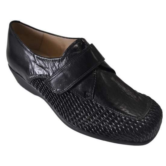 Calzado Comodo para Plantillas Modelo Silvio 3 - Zapato de señora con cierre velcro, pala elástica panal combinado con piel de becerrito...