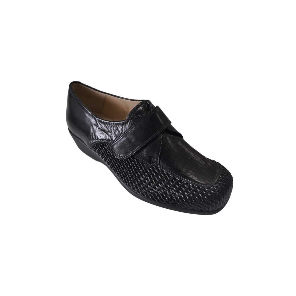 Sapatos confortáveis para modelos modelo Silvio 3 - Sapato Senhora com fecho de velcro, lâmina elástica couro de bezerro pente combinado com ...