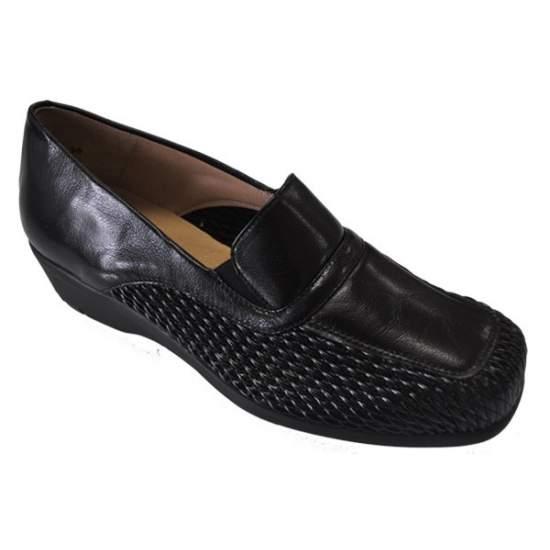 Calzado Comodo para Plantillas Modelo Silvio 6 - Zapato de señora de copete, pala elástica panal combinado con piel de becerrito