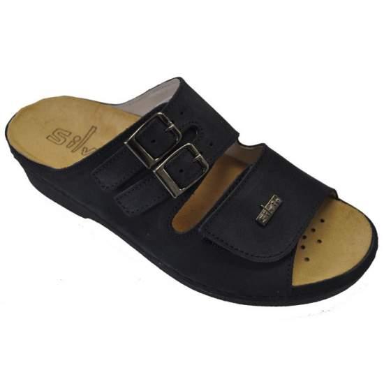 Chaussure confortable MODÈLE Modèle Irene - Nubuck sandale en cuir avec doublure faite de porc super doux et semelle intérieure amovible.