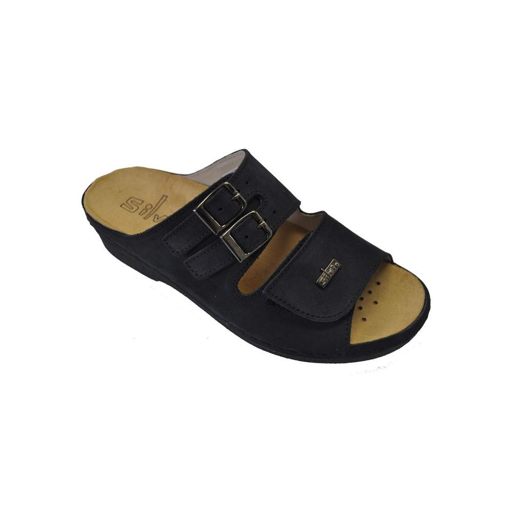 COMFORTABLE SHOE TEMPLATE Model Irene - Nubuck leather sandal made with super-soft pig lining and removable insole.