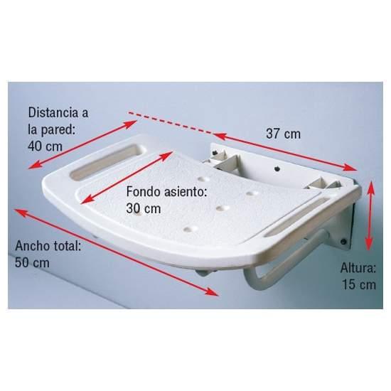 FOLDING SIÈGE DE DOUCHE MURALE - Fabriqué en aluminium avec revêtement époxy blanc. Siège en plastique avec concave de drainage et grab poignées intégrées pour sentiment de sécurité.