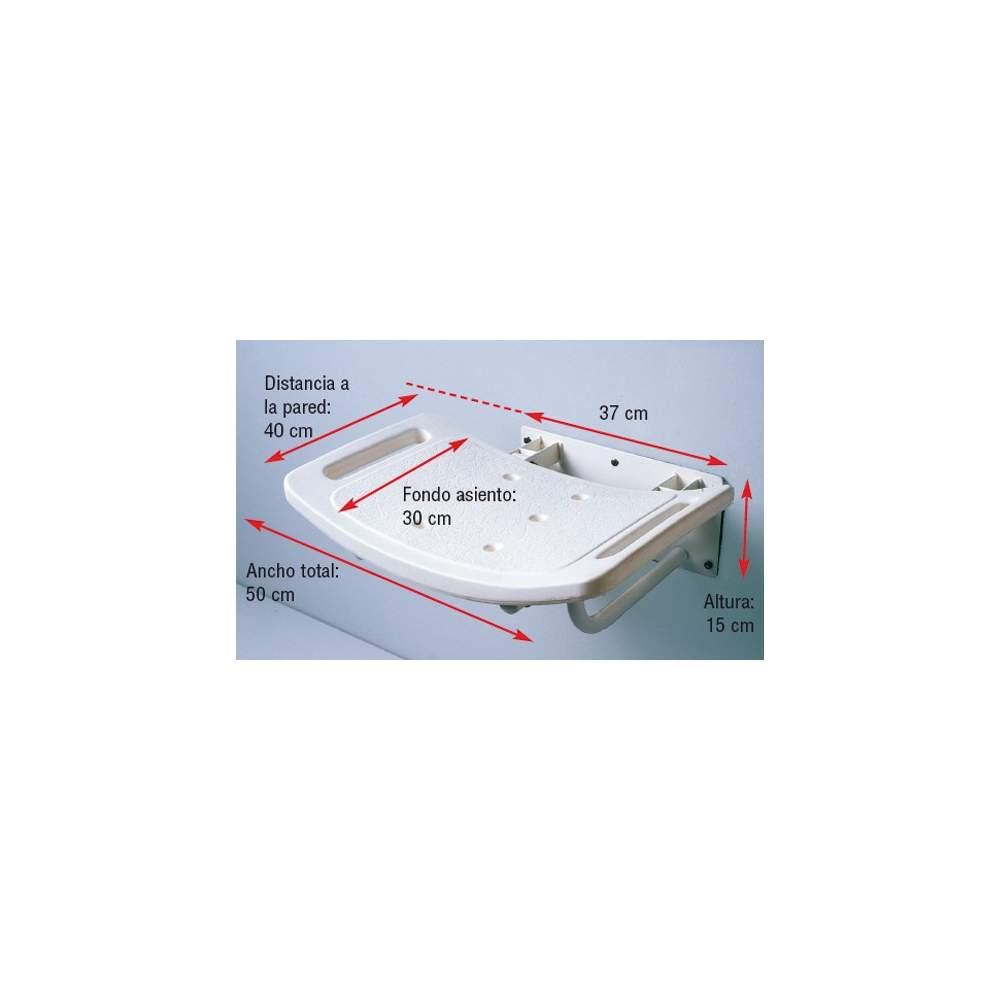 Asiento de Ducha Abatible de Pared - Fabricado en aluminio con recubrimiento epoxi en color blanco. Asiento de plástico de forma cóncava con desagüe y asideras integradas para mayor sensación de seguridad.