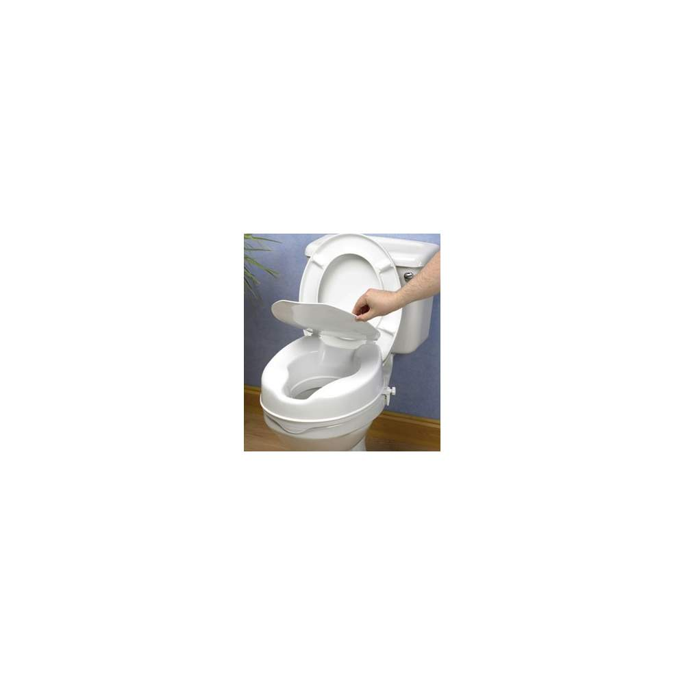 Elevador de WC económico de 10 cm de altura con tapa - Elevador de 10 cm con tapa económico pero seguro y eficaz elevador es de plástico completamente sellado, que resiste los olores y las manchas.