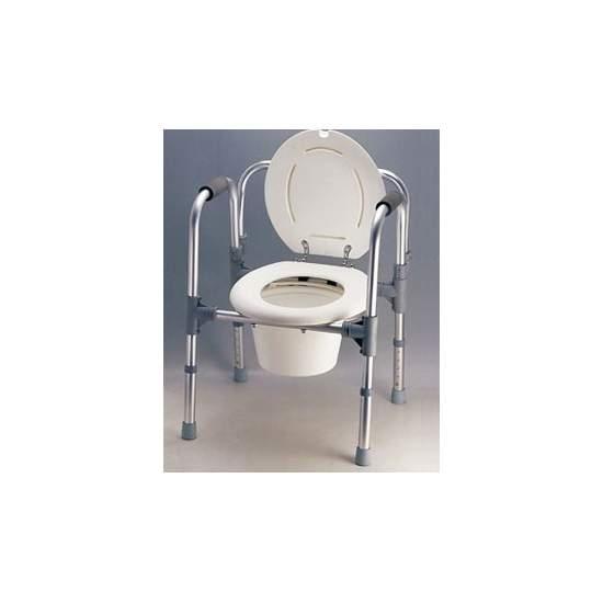 Elevador de WC con Brazos y Respaldo - Se puede utilizar como elevador de WC de altura regulable, como silla con inodoro para el dormitorio (incorpora una cubeta con asa) y como apoyo auxiliar para el WC (como AD501EL).