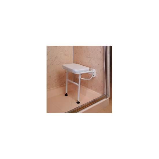Silla de ducha abatible con patas y asiento acolchado - Silla de ducha abatible con patas y asiento acolchado