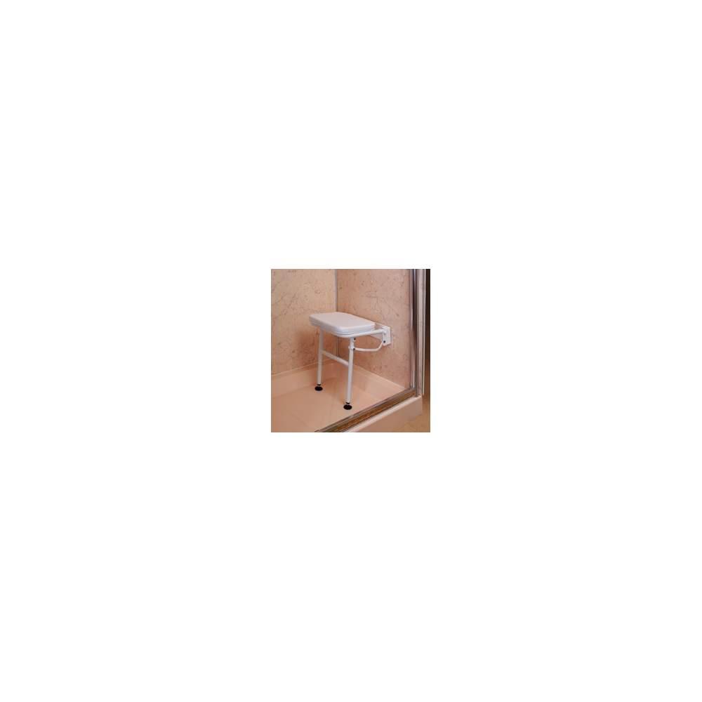 Silla de ducha abatible con patas y asiento acolchado