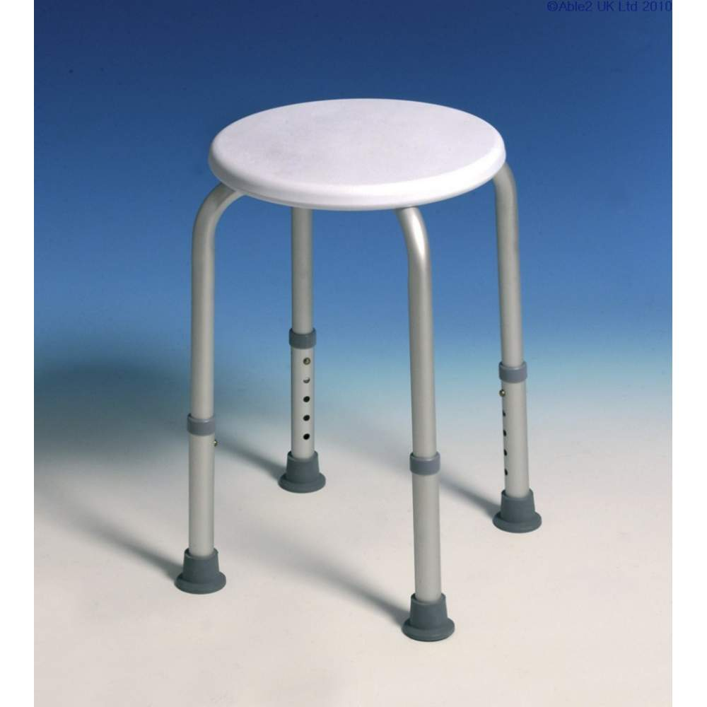 Round shower stool, adjustable 40-51 cm