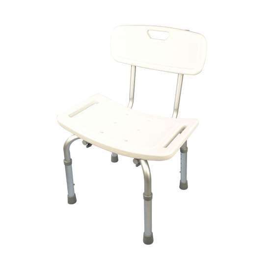 Aluminum shower stool with backrest height adjustable - Aluminum shower stool with backrest height adjustable