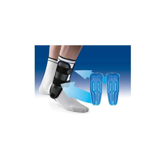 VALTEC-GEL ANKLE BRACES FOR GRABS WITH GEL BAGS ORLIMAN - Clamshell ankle orthosis, rigid thermoplastic, provided inner pad / foam / memory foam and gel packs for cold therapy.