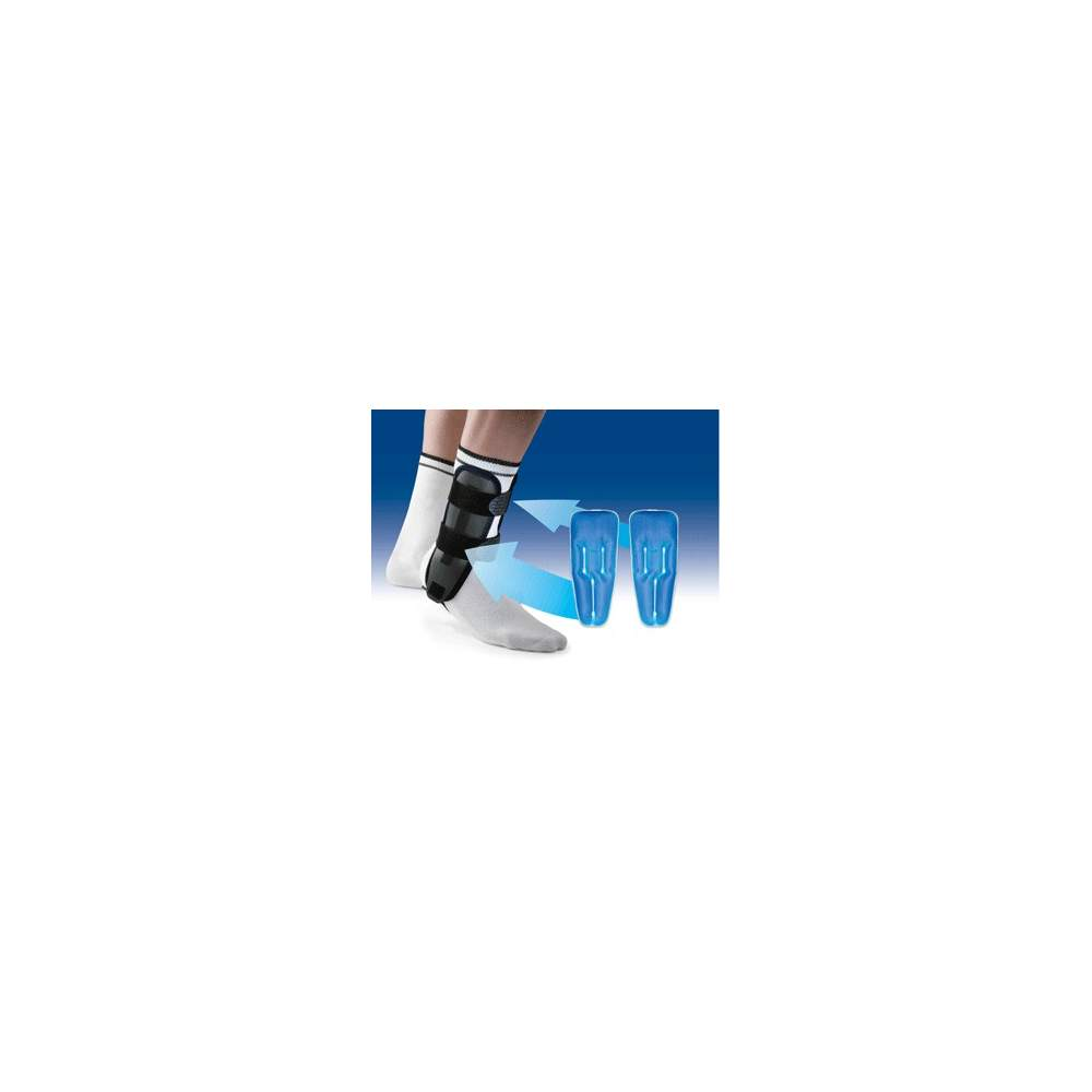 VALTEC-GEL ORTESIS DE TOBILLO BIVALVA CON BOLSAS DE GEL ORLIMAN - Ortesis bivalva de tobillo, en termoplástico rígido, provista de almohadilla interior en / espuma/ foam con memoria y con bolsas de gel para terapia defrío.