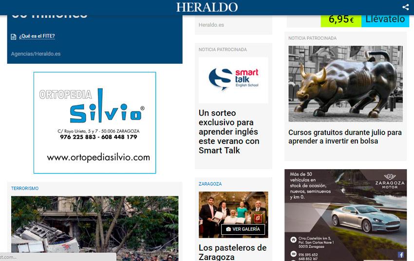 Anuncio en Heraldo de Aragón edición digital